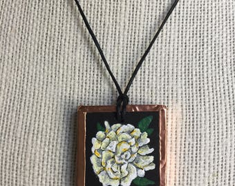 White flower necklace, Handmade Peony Pendant, Floral jewelry, Painted flower pendant, Wedding flower jewelry, Bridesmaid gift, Gift for her