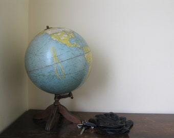 Vintage World Globe With Wooden Stand Terrestrial Globe The Book of Knowledge New York Vintage 1930 World Globe Office Decor