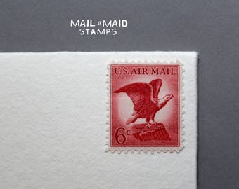 Bald Eagle Air Mail || Set of 10 unused vintage postage stamps