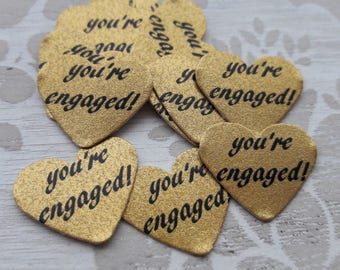 Gold Heart You're Engaged Table Confetti Wedding Bridal Shower Engagement Party Table Decoration Confetti