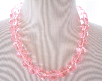 """Vintage Chunky Pink Beaded Strand String Rope Statement Necklace Boho Chic 22"""""""