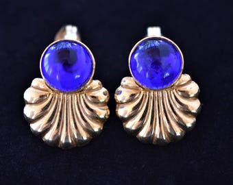 Vintage Ornate Geometric Blue Earrings Shell Shaped Clip On Delicate Retro Costume Jewelry 1""