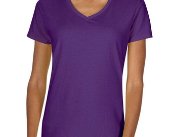 Women's Blank Purple T-Shirt with Fringe Options