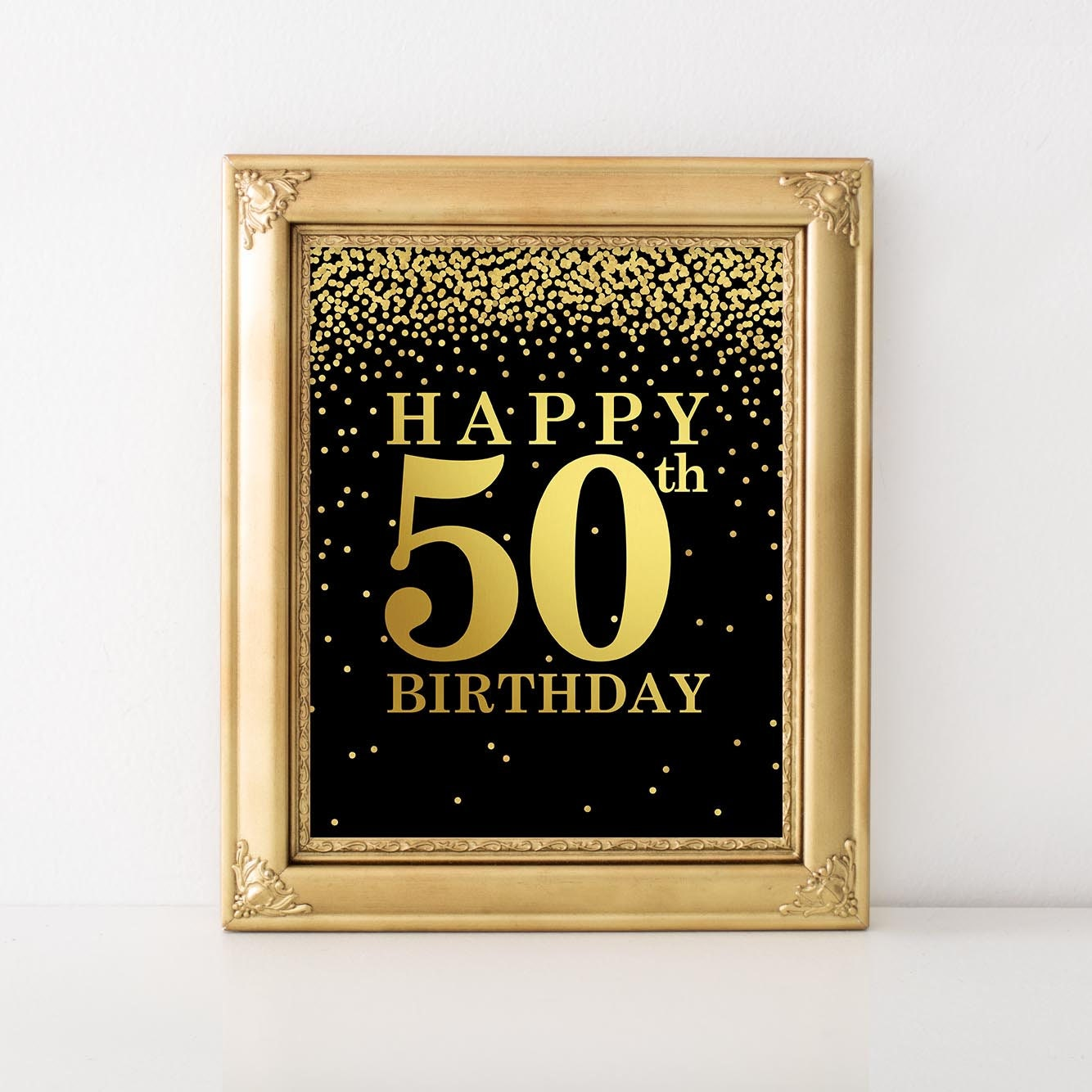 50th Birthday Party Happy 50th Birthday Print Gold And Black