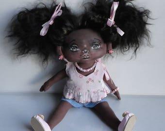 Art cloth doll, OOAK, doll, collectible doll, handmade doll, decorative doll, fabric doll, african doll, black doll, art doll, rag doll