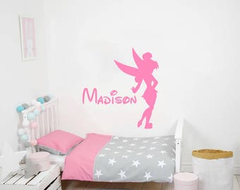Tinkerbell Name Wall Decal Vinyl Decals Sticker Custom Name Decals  Personalized Baby Girl Name Decor Nursery