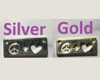 Gold and silver plated peace + love charm.