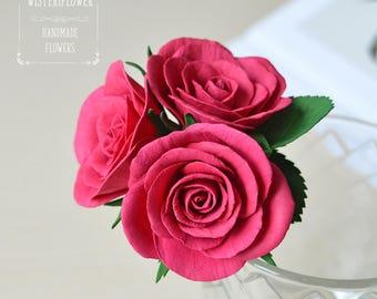 Wedding hair pin Bridesmaid gift Deep pink Rose Hair pin Boho Wedding flower Hair accessories Gift for her Pink wedding Bridesmaid hair pin