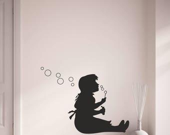 banksy bubbles girl vinyl wall art sticker decal living room bedroom hallway kitchen