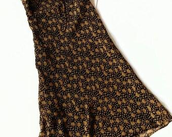 90s Floral Black Silk Sundress by Moda International - Small Size 4
