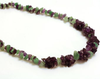 Amethyst & Jade Rosette Necklace with Sterling Silver Clasp