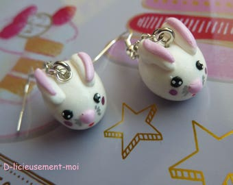 Earrings in sterling silver 925 white kawaii Bunny polymer clay hand painted