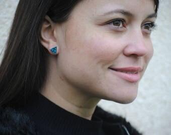 African earrings, Tribal earrings, African fabric jewelry, African stud earrings, Triangle stud earrings, Fabric earrings, Ankara earrings