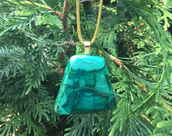 Malachite Christmas ornament with 18k gold plated bail