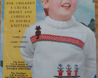 Vintage knitting pattern for traditional child's Fair Isle sweater and cardigan