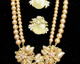 Vintage Miriam Haskell Style Double Strand Champagne Baroque Pearl & Mother Of Pearl Beaded Necklace and Earrings Flowers Rhinestone Accents