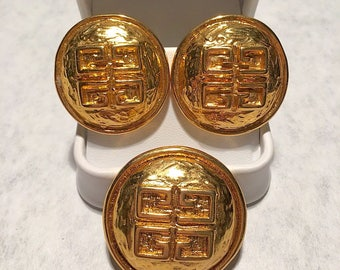 "Vintage GIVENCHY LOGO Signed Parfum ""Limited Edition"" 70's Runway Couture Domed Gold Tone Clip Earrings & Matching Brooch Pin Rare Jewelry"