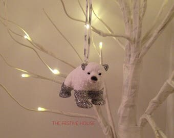 Easter decorations rabbit decoration rabbit easter ornament silver polar bear with liberty ribbon christmas tree decoration animal tree decoration christmas decorations negle Images