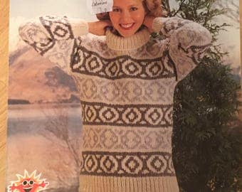 His and Her Sweater Knitting Pattern, Lister-Lee Vintage Knitting Pattern, Ladies Patterned Jumper, Mens Patterned Jumper, Lister No. K1679