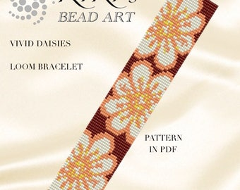 Bead loom pattern - Vivid daisies LOOM bracelet PDF pattern instant download