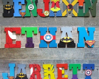 Hand painted superhero letters for kids room, nursery decor, kids marvel wall art, superhero decor gifts, boys room decorations