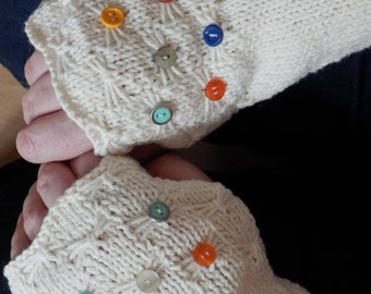 Cream Fingerless Gloves, Cream Cotton Wrist Warmers, Unique Hand Knit Fingerless Gloves with buttons, Lovely Gift for Women
