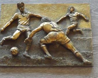 Football. Cadre signé Arpeco footballeurs. Neno.  Déco sportive. Collection. Vintage. France
