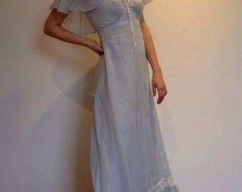 1970s Blue Maxi 'Alice in Wonderland' Dress with off the shoulder ruffled sleeves