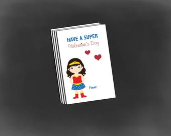 Wonderwoman Valentine cards, valentine school cards, Wonder woman Valentine set of 12
