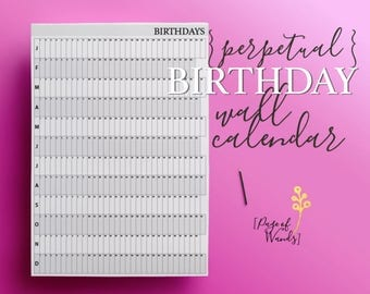 Perpetual Birthday Wall Calendar - A1 - Large Giant Printable Calendar - Black and White