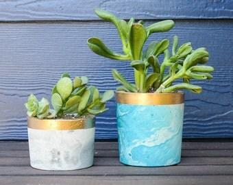 Marble Concrete Planter - Succulent Planter - Air Planter - Air Plant Holder - Succulents - Marble Decor - Cactus Planter - Gifts under 20