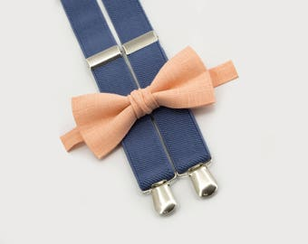 Mens Bow Tie And Suspenders Groomsmen Outfit Peach Bowtie & Denim Suspenders