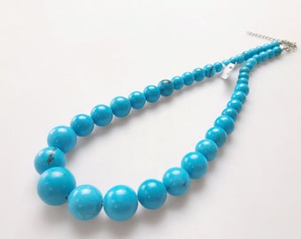 Genuine Magnesite Turquoise Graduated Loose Round Beads Necklace with silver Plated Clasp