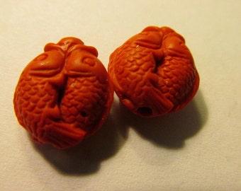 Red Cinnabar-like Resin Bead-Charms of Koi-Carp Fish, 15mm, Set of 2