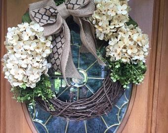 SALE! BEST SELLER! Perfect Neutral Wreath, Door Wreath, Hydrangea Wreath, Outdoor Wreath, Outside decoration