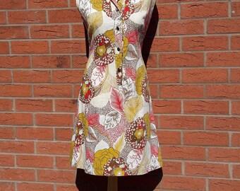 1960's Shift Dress | Vintage Cotton Sun Dress | Vintage Cotton Shift Dress | Patterned Shift Dress | Size UK10 US6