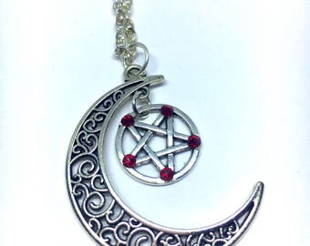 Moon with red crystal pentagram