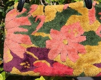 Vintage carpetbag with geometric design 1950's chenille,  flocked