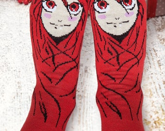 Unique Red Girl Cotton Socks, Gift for New Year, Merry Christmas, XMas, Funny Anime Womens Holiday Socks, Colorful 2nd Anniversary Gift