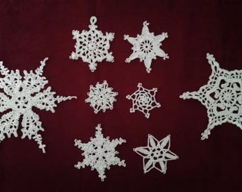 Crocheted Snowflakes Eight White