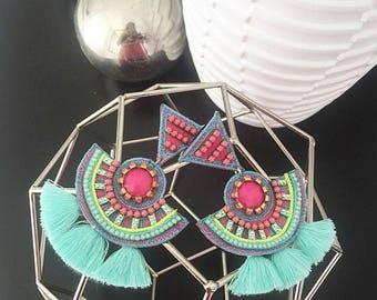 Christmas Gift, Gift for Her, Colorful Earrings, Multicolor Earrings, Ethnic Boho Earrings, Threader Earring, Ethnic Boho Earrings,
