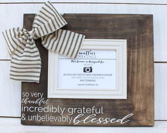 4x6 Ticking Fabric Picture Frame, Thank you gifts for coworkers, thank you gifts for women, thank you gifts for parents, farmhouse style