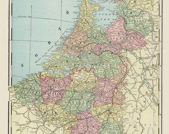 Vintage 1888 Netherlands and Belgium map digital.Instant Digital Download. PRINTABLE map.Holland print.Printable multicolored image, 300dpi.