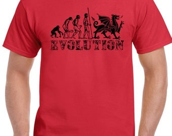 Welsh Evolution Mens Funny T-Shirt - Rugby Football Wales Top Saint David's Day 1691