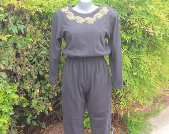 Vintage Jumpsuit, FADS, Black, Embroidery, Knit Pants, Long Sleeve, Vacation, Size Large