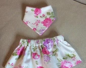 Handmade skirt and bandana bib set. Cream with pink roses. 12-18 months. Cotton. Pink. Summer. Made in Scotland.