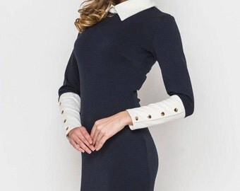 S-3XL Elegant Jersey dress casual wear Midi dress spring collection  Office dress Casual women's dress Knee Little black dress Day dress