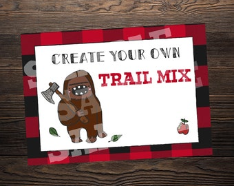 Trail Mix Sign // Lumberjack Party //  5 x 7 and 8.5 x 11 // Instant Digital Download PDF
