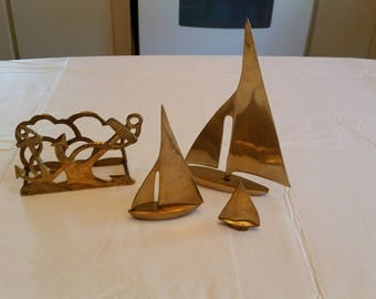 vintage 3 piece solid brass sailboats & nautical anchors napkin / letter mail holder - made in india  paperweights figurines ocean decor art