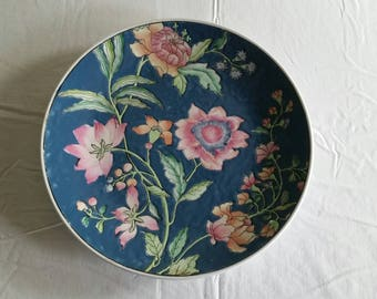 large antique chinese macau cloisonne porcelain china plate 1950 's hand painted imari style charger dish - bowl art pottery flowers floral